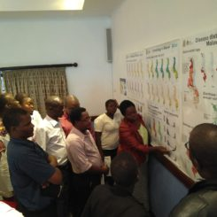 Participants attend an ENACTS Maproom training session held by IRI