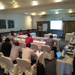 Participants at a communication strategy development meeting in Malawi